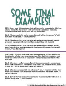 Iep writing goals examples