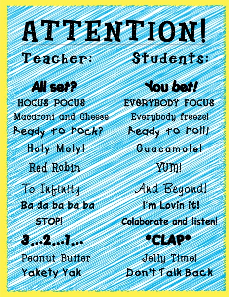 Classroom Transition Chants